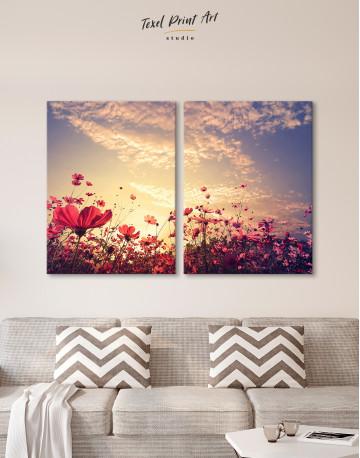 Pink Field Flower Sunset Canvas Wall Art - image 9