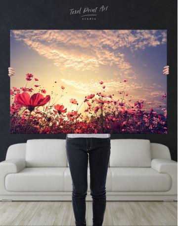Pink Field Flower Sunset Canvas Wall Art - image 10