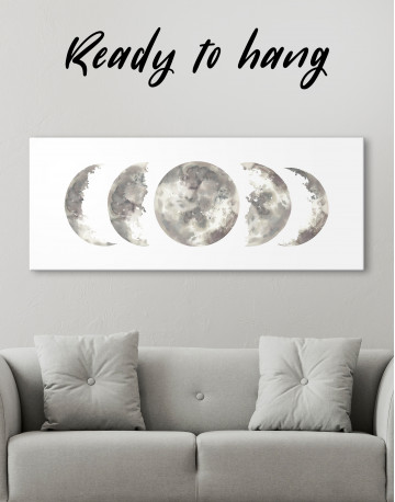 Watercolor Moon Phases Canvas Wall Art