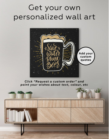 Save Water Drink Beer Canvas Wall Art - image 3