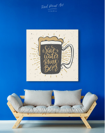 Save Water Drink Beer Canvas Wall Art - image 4