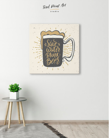 Save Water Drink Beer Canvas Wall Art - image 5