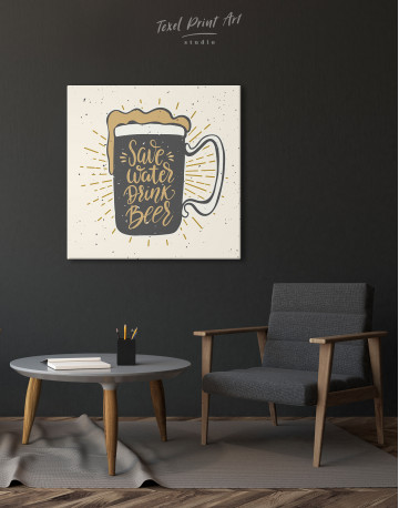Save Water Drink Beer Canvas Wall Art - image 1