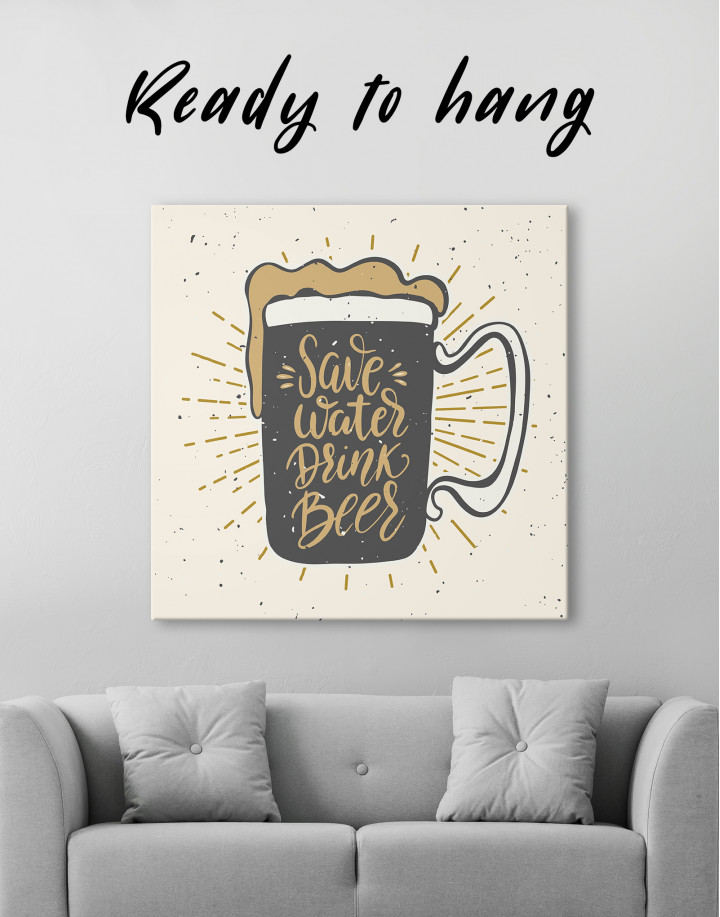 Save Water Drink Beer Canvas Wall Art