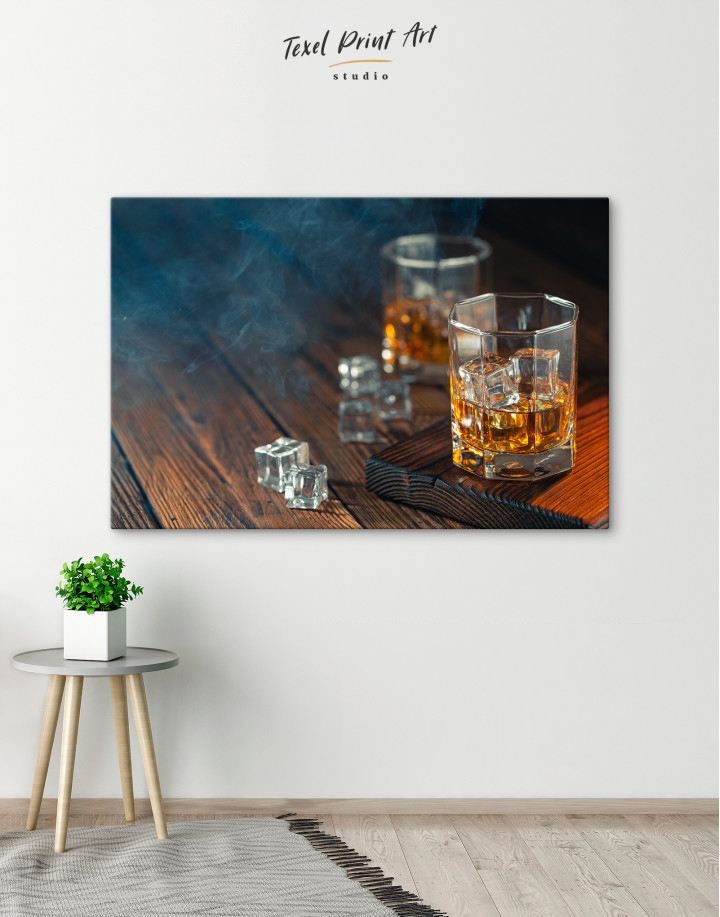 Whiskey Glass With Ice Canvas Wall Art - Image 6