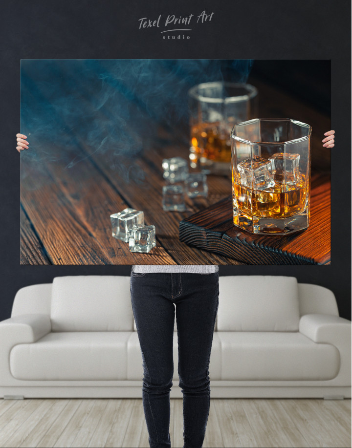 Whiskey Glass With Ice Canvas Wall Art - Image 9