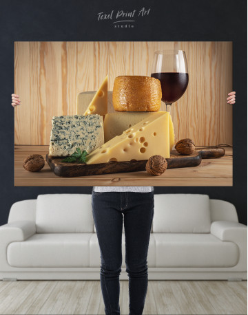 Cheese and Wine Canvas Wall Art - image 1