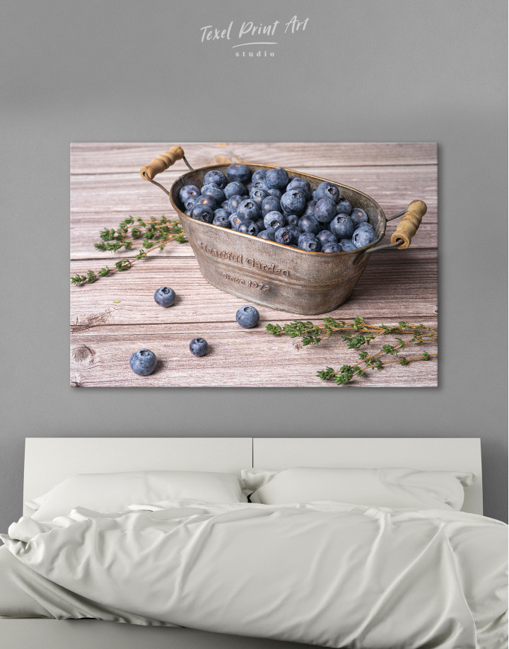 Bowl With Blueberries Canvas Wall Art