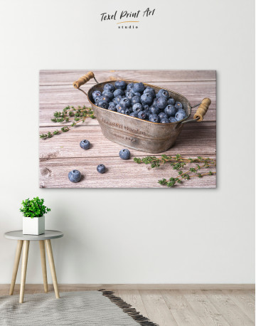 Bowl With Blueberries Canvas Wall Art - image 2