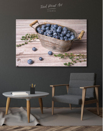 Bowl With Blueberries Canvas Wall Art - image 4