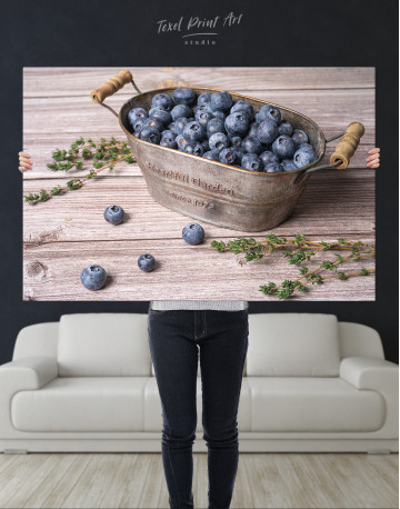Bowl With Blueberries Canvas Wall Art - image 9