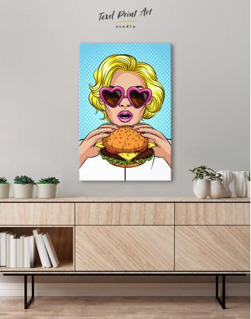 Pop Art Cheeseburger Canvas Wall Art - image 3