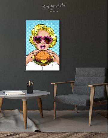 Pop Art Cheeseburger Canvas Wall Art - image 1