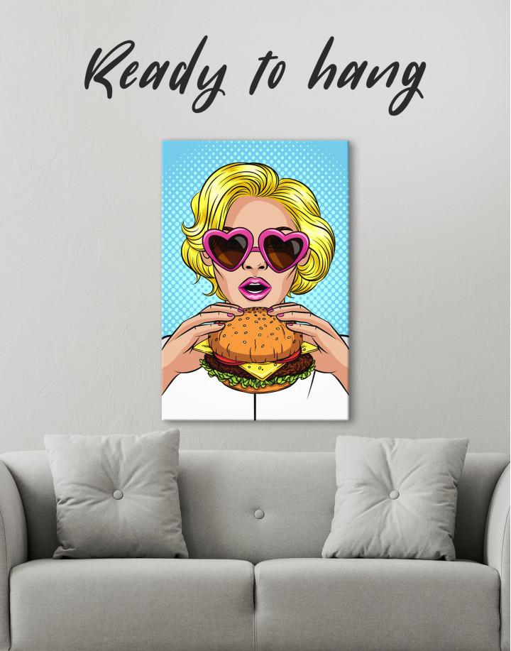 Pop Art Cheeseburger Canvas Wall Art