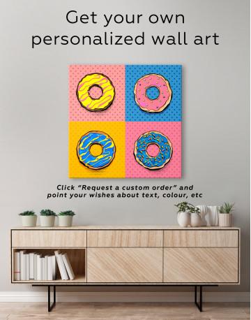 Donut Pop Art Style Canvas Wall Art - image 3