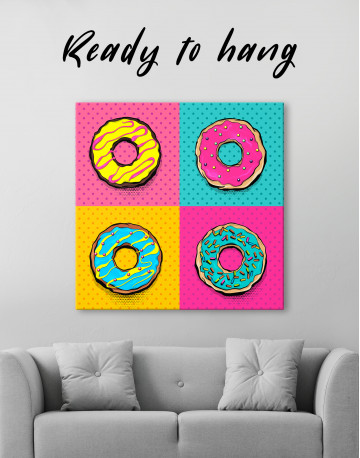 Donut Pop Art Style Canvas Wall Art