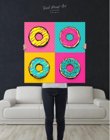Donut Pop Art Style Canvas Wall Art - image 1