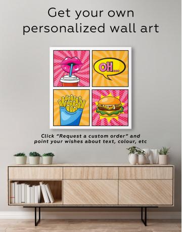 Pop Art Burger Set Canvas Wall Art - image 3
