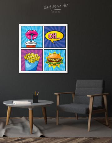 Pop Art Burger Set Canvas Wall Art - image 5