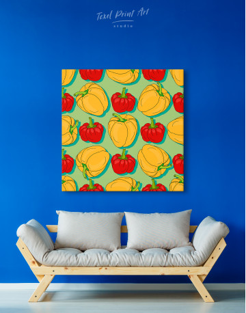 Red and Yellow Bell Peppers Canvas Wall Art - image 2