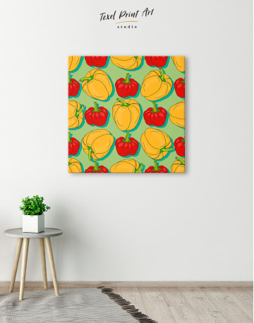 Red and Yellow Bell Peppers Canvas Wall Art - image 1
