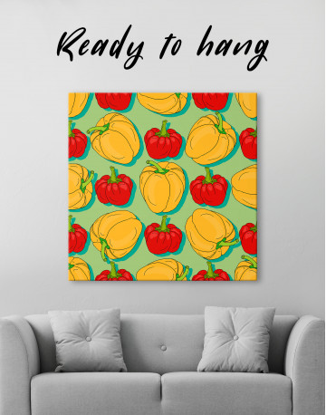 Red and Yellow Bell Peppers Canvas Wall Art