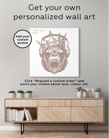 Gorilla with Crown Canvas Wall Art - image 3