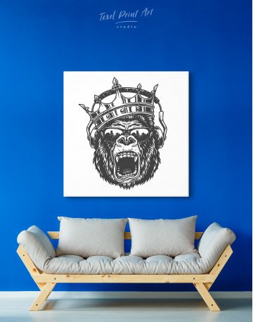 Gorilla with Crown Canvas Wall Art - image 4