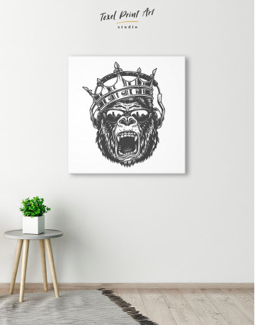 Gorilla with Crown Canvas Wall Art - image 5