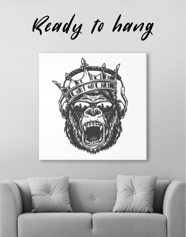 Gorilla with Crown Canvas Wall Art