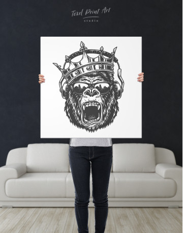 Gorilla with Crown Canvas Wall Art - image 1