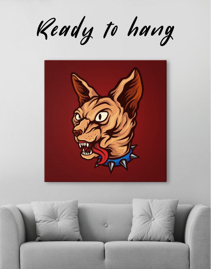 Punk Sphinx Cat Canvas Wall Art