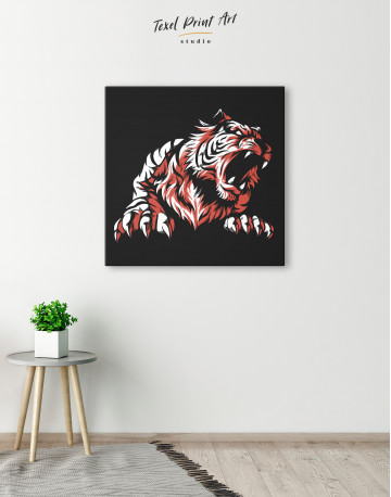 Silhouette Tiger Canvas Wall Art - image 1