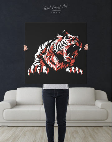 Silhouette Tiger Canvas Wall Art - image 6