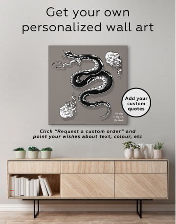 Black Snake with White Flame Canvas Wall Art - image 3