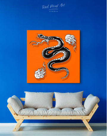 Black Snake with White Flame Canvas Wall Art - image 4