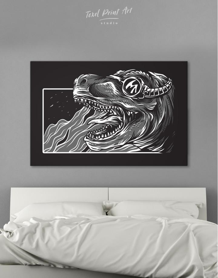 Steampunk Black and White Dinosaur Canvas Wall Art