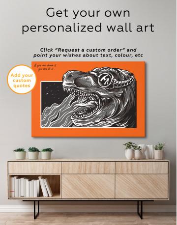 Steampunk Black and White Dinosaur Canvas Wall Art - image 5