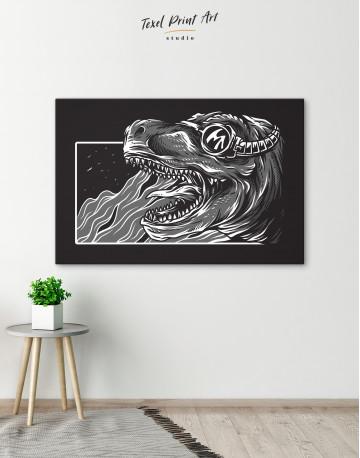 Steampunk Black and White Dinosaur Canvas Wall Art - image 6