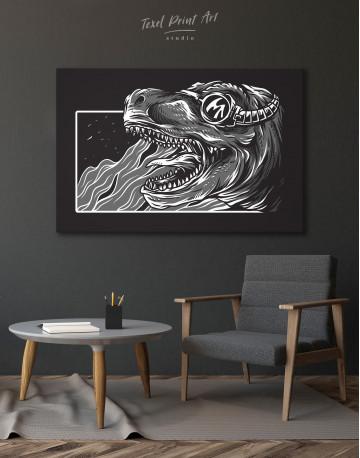 Steampunk Black and White Dinosaur Canvas Wall Art - image 7