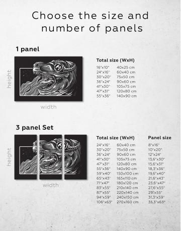 Steampunk Black and White Dinosaur Canvas Wall Art - image 9