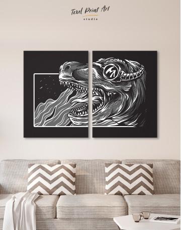 Steampunk Black and White Dinosaur Canvas Wall Art - image 1