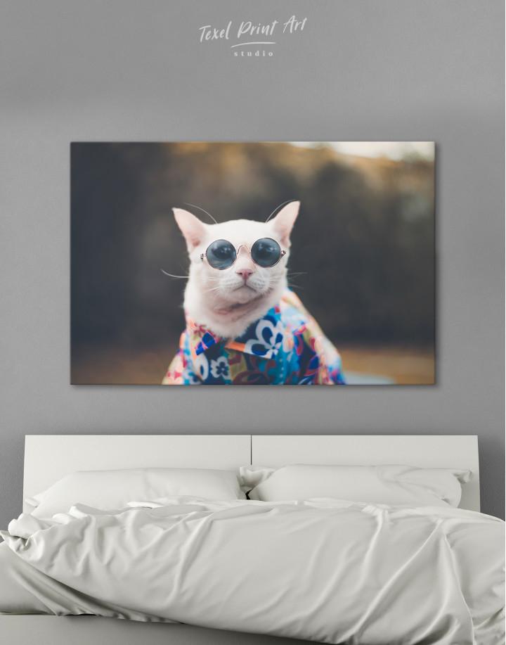 Stylish Cat Hipster Canvas Wall Art