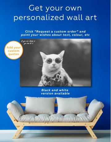 Stylish Cat Hipster Canvas Wall Art - image 5