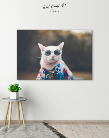 Stylish Cat Hipster Canvas Wall Art - image 4