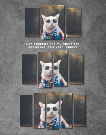 Stylish Cat Hipster Canvas Wall Art - image 3