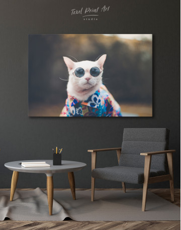 Stylish Cat Hipster Canvas Wall Art - image 2
