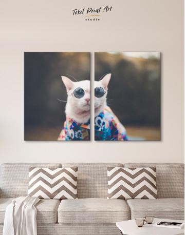 Stylish Cat Hipster Canvas Wall Art - image 9