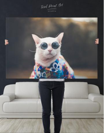 Stylish Cat Hipster Canvas Wall Art - image 7