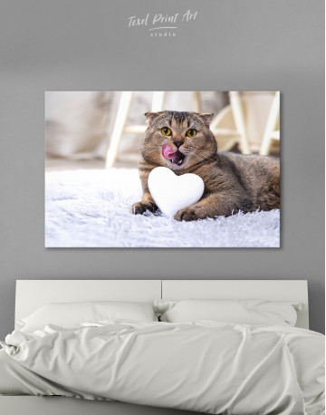 Brown Scottish fold with Heart Canvas Wall Art